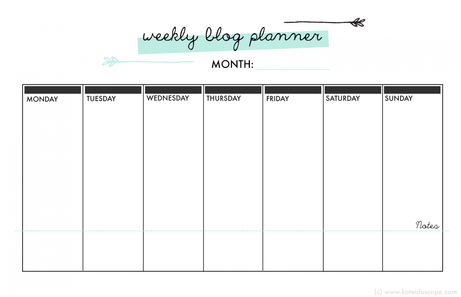 35mminstyle free weekly blogger planner