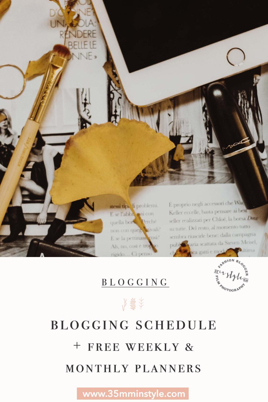 blogging schedule free blog planners