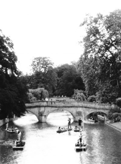 Cambridge, Uk in a black and white film roll