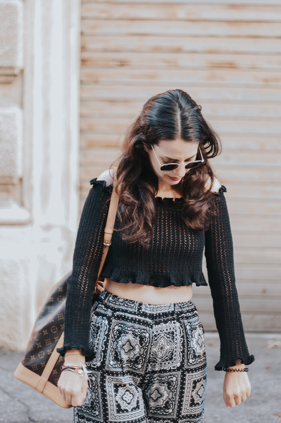 ruffle black top from femme luxe finery