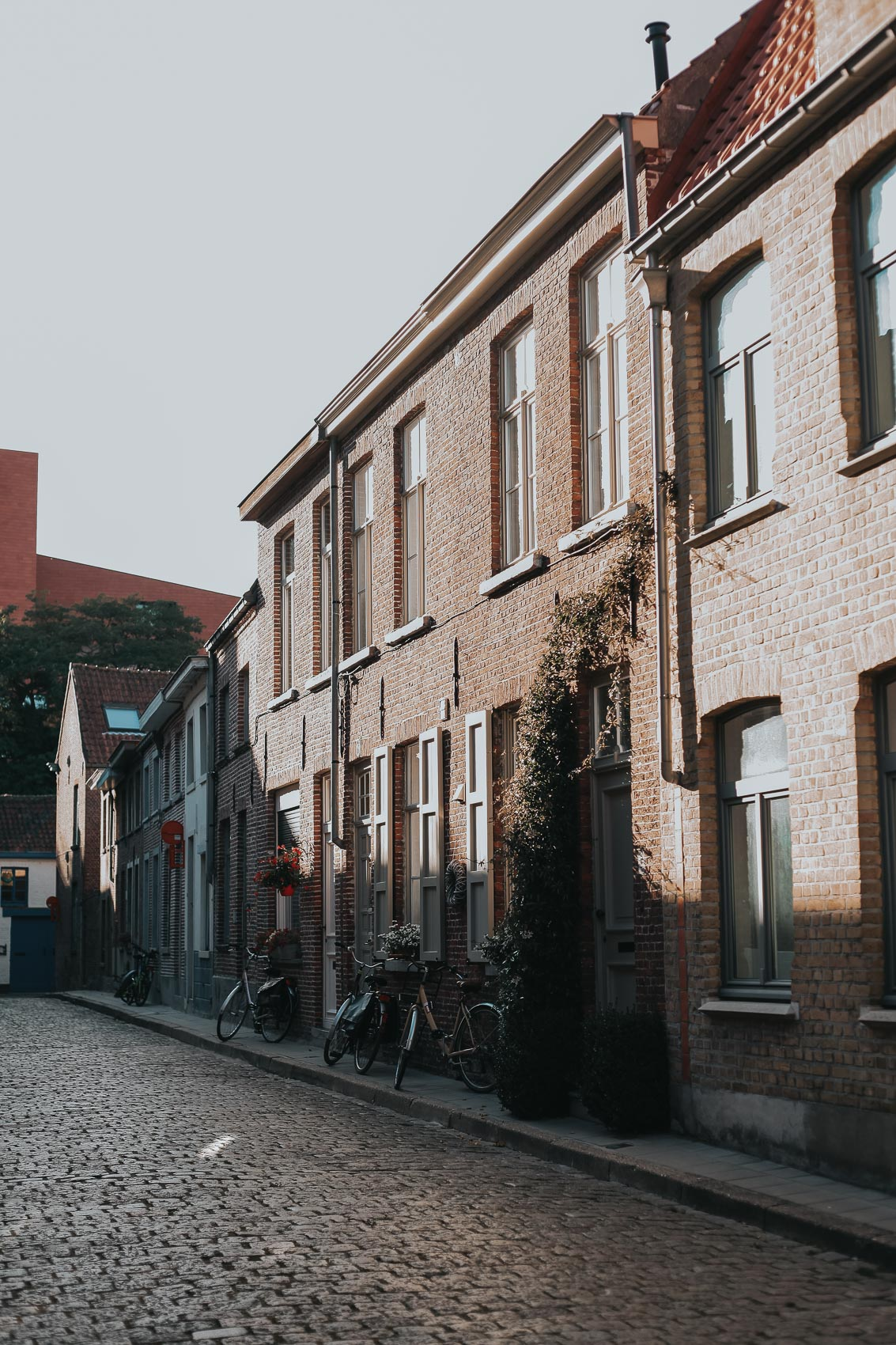Narrow streets and squares in bruges Belgium