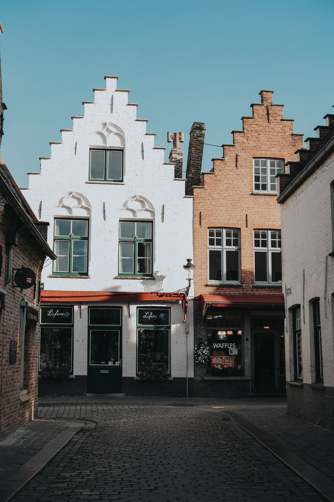narrow streets in Bruges Belgium